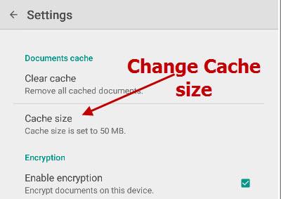 Google-drive-change-cache-size