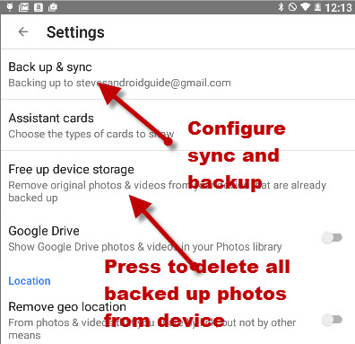 google-photos-settings